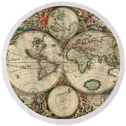 Antique Maps - Old Cartographic Maps - Antique Map Of The World, Double Hemisphere, 1689 Round Beach Towel