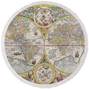 Antique Maps - Old Cartographic Maps - Antique Map Of The World, Double Hemisphere Map, 1599 Round Beach Towel