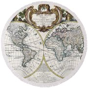 Antique Maps - Old Cartographic Maps - Antique Map Of The World - Double Hemisphere Map, 1744 Round Beach Towel