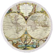 Antique Maps - Old Cartographic Maps - Antique Map Of The World, Double Hemisphere Map, 1755 Round Beach Towel