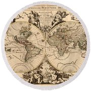 Antique Maps - Old Cartographic Maps - Antique Map Of The World - Double Hemisphere Map Round Beach Towel