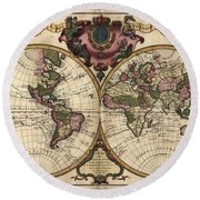 Antique Maps - Old Cartographic Maps - Antique Map Of The World, Double Hemisphere - Mappemonde Round Beach Towel