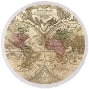 Antique Maps - Old Cartographic Maps - Antique Map Of The World, Globe - Mappa Mundi Round Beach Towel