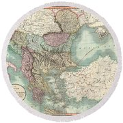 Antique Maps - Old Cartographic Maps - Antique Map Of Turkey In Europe, Greece And The Balkans, 1801 Round Beach Towel