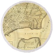Antique Maps - Old Cartographic Maps - City Of New York And Its Environs Round Beach Towel