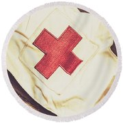 Antique Nurses Hat With Red Cross Emblem Round Beach Towel