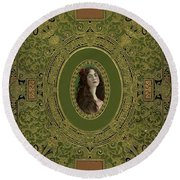Antique Ornate Book Cover - Green Gold And Brown Round Beach Towel by Peggy Collins