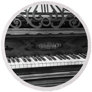 Antique Piano Black And White Round Beach Towel