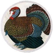 Antique Print Of A Turkey, 1859  Round Beach Towel