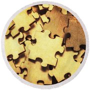Antique Puzzle Of Missing Links Round Beach Towel