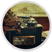 Antique Royal Typewriter Round Beach Towel