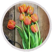 Round Beach Towel featuring the photograph Antique Scissors And Bouguet Of Tulips by Stephanie Frey