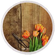 Round Beach Towel featuring the photograph Antique Scissors And Tulips by Stephanie Frey