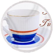 Antique Teacup From Japan With Tea Time Invitation Round Beach Towel by Vizual Studio
