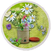 Antique Tin Of Flowers Round Beach Towel