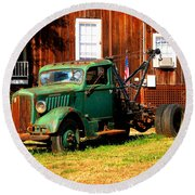 Antique Tow Truck Round Beach Towel