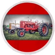 Antique Tractor Pullers Round Beach Towel by Marion Johnson