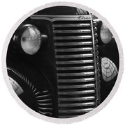 Antique Truck Black And White Round Beach Towel