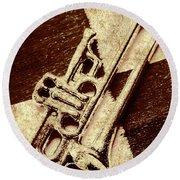 Antique Trumpet Club Round Beach Towel