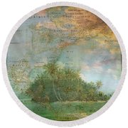 Round Beach Towel featuring the photograph Antique Vintage Map Of North America Tropical Ocean by Debra and Dave Vanderlaan