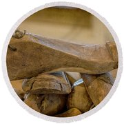 Antique Wooden Shoe Forms - 2 Round Beach Towel