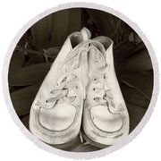 Antiqued Baby Shoes Round Beach Towel by Ellen O'Reilly