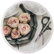 Round Beach Towel featuring the photograph Antiqued Roses by Kim Hojnacki