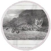 Antoine-louis Barye, French, Paris 1796-1875 Paris, Study Of A Tiger Round Beach Towel