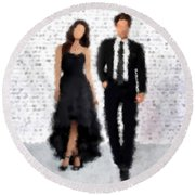 Round Beach Towel featuring the digital art Antonia And Giovanni by Nancy Levan