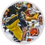 Antonio Brown Steelers Art 5 Round Beach Towel