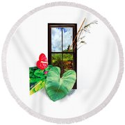 Anthurium 2 Round Beach Towel