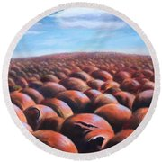 Round Beach Towel featuring the painting Ant's Eye View Of Sand by Randol Burns
