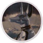 Anubis God Of Egypt By Mary Bassett Round Beach Towel
