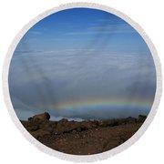 Anuenue - Rainbow At The Ahinahina Ahu Haleakala Sunrise Maui Hawaii Round Beach Towel