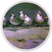 Round Beach Towel featuring the painting Any New Gossip by David  Van Hulst