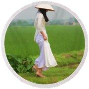 Ao Dai Woman Vietnamese Woman Round Beach Towel