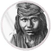 Apache Boy Round Beach Towel