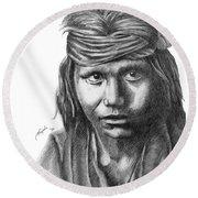 Apache Boy Round Beach Towel