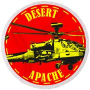 Apache On Desert Round Beach Towel