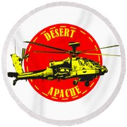 Apache On Desert Round Beach Towel