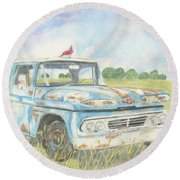 Apache Out To Pasture Round Beach Towel