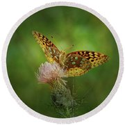 Round Beach Towel featuring the photograph Aphrodite Fritillary Butterfly by Sandy Keeton