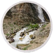 Round Beach Towel featuring the photograph Apikuni Falls by Margaret Pitcher