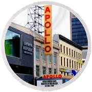 Round Beach Towel featuring the photograph Apollo Theater by Randall Weidner