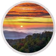 Appalachian Mountains Asheville North Carolina Blue Ridge Parkway Nc Scenic Landscape Round Beach Towel