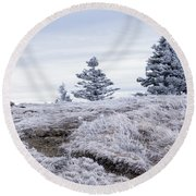 Round Beach Towel featuring the photograph Appalachian Trail Winter Hike by Serge Skiba