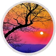 Appalcahian Sunset Tree Silhouette  #1 Round Beach Towel