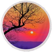 Appalcahian Sunset Tree Silhouette #2 Round Beach Towel