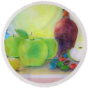 Apple A Day Round Beach Towel