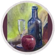 Round Beach Towel featuring the painting Apple And Wine by Jim Phillips